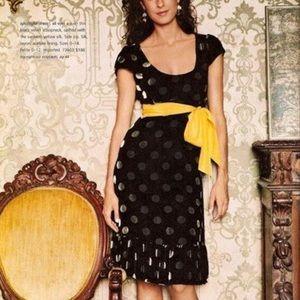 Moulinette Soeurs Black Velvet Dress w/ Polka Dots